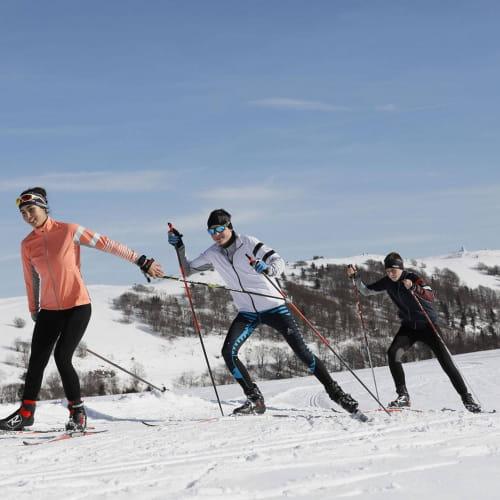 A fond le ski de fond sur la route des crêtes